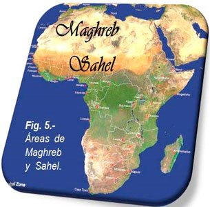Fig. 5. The Maghreb and Sahel areas