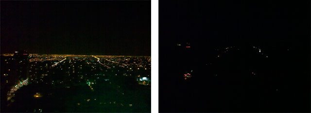 The city of Santiago (Chile) before and during the power cut of 2010 (Wikimedia Commons).