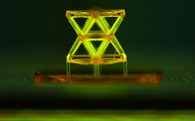 The image above shows a unit of the structure developed by the team of researchers, made from a polymer using the projection micro stereolithography 3D printing system. Photograph: courtesy of the researchers.