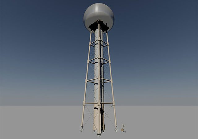 Image of the prototype of the new Tesla Tower.
